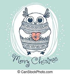 lindo, águila, owl., ilustración, mano, vector, alegre, dibujado, tarjeta de navidad