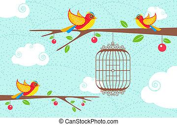 lindo, árbol, aves, sentado