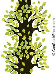 lindo, árbol, hojas, roble, seamless, diseño, frontera