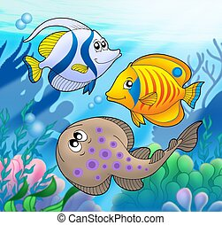lindo, 2, animales, marina