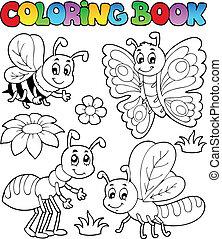 lindo, 2, libro colorear, bichos