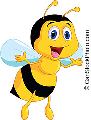 lindo, abeja, caricatura
