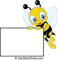 lindo, abeja, con, señal