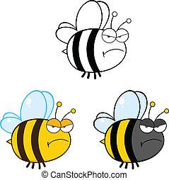 lindo, abeja, ., conjunto, colección, 2