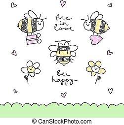 lindo, abejas, conjunto