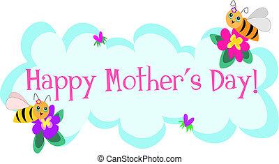 lindo, abejas, saludos, día, madres