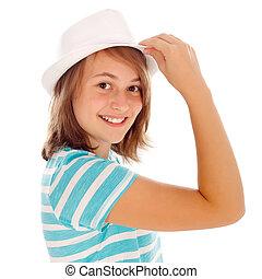 lindo, adolescente niña, en, sombrero