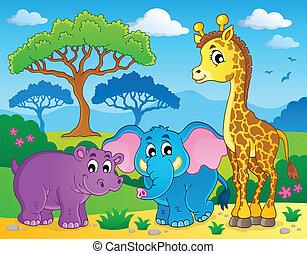 lindo, africano, animales, tema, imagen, 1