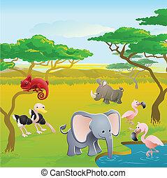 lindo, africano, caricatura, animal, safari