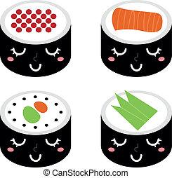lindo, aislado, sushi, conjunto, caricatura, blanco
