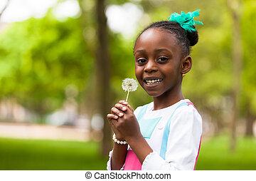 lindo, al aire libre, gente, diente de león, -, joven, flor, negro, tenencia, africano, retrato, niña