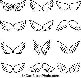 lindo, alas ángel, conjunto