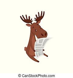 lindo, alce, marrón, plano, ramificado, grande, vector, diseño, alce, periódico., salvaje, eurasiático, lectura, animal., horns., bosque