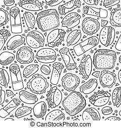 lindo, alimento, pattern., seamless, rápido, mano, dibujado...