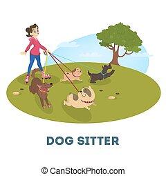 lindo, ambulante, hembra, perro, sitter, mascotas