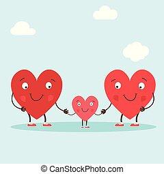 lindo, amor, caracteres, colorido, family., familia , acción, ilustración, mano, símbolos, vector, padres, -, corazones, dibujado, lettering., su, child.