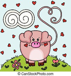 lindo, amor, jardín, cerdo