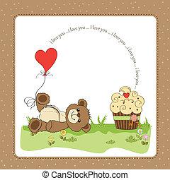 lindo, amor, tarjeta, oso, teddy