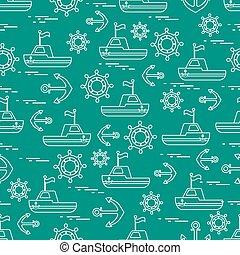 lindo, anclas, patrón,  seamless, tema, barcos, banderas, marina, entrepuente, ruedas