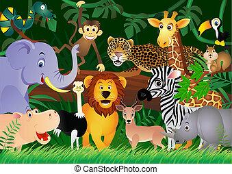 lindo, animal, caricatura, en, el, selva