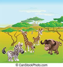 lindo, animal, escena, safari, africano, caricatura