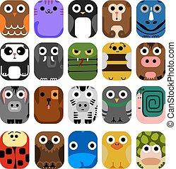 lindo, animal, icono, conjunto, no.1.