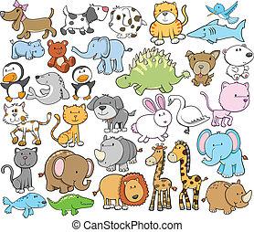 lindo, animal, vector, diseñe elementos