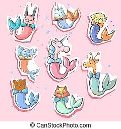 lindo, animales, colas de pez, 8, pegatinas, sirena