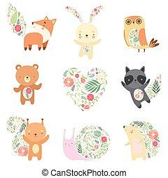 lindo, animales, conjunto, patrón, seamless, ilustración,...