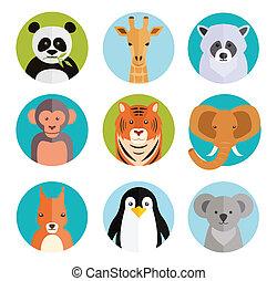 lindo, animales, en, coloreado, redondo, insignias