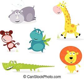 lindo, animales, seis, -, safari, jirafa