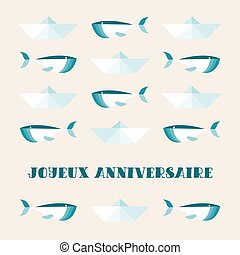 lindo, anniversaire., french:, ballenas, texto, saludo, ...