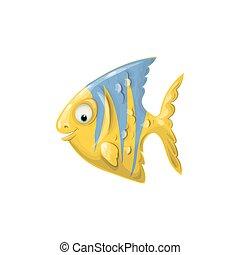 lindo, arte, clip, fish., ilustración, vector, caricatura