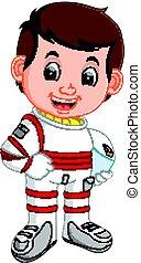 lindo, astronauta, caricatura