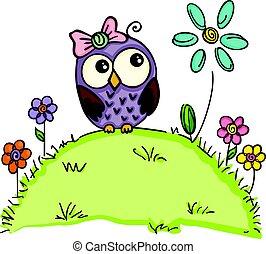 lindo, búho, en, un, jardín, con, flores