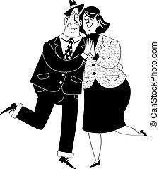 lindo, bailando, viejo, pareja