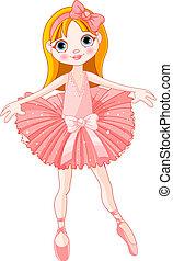 lindo, bailarina, niña