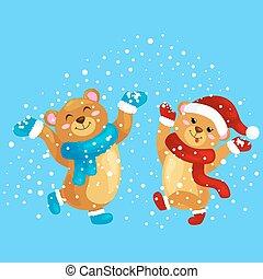 lindo, baile, manoplas, nevada, salto, gifts., regocíjese, invierno, ositos de peluche, debajo, nuevo, sombrero, navidad, alegría, ilustración, vacaciones, tibio, botas, bufandas, durante, eva, año, vector, ropa