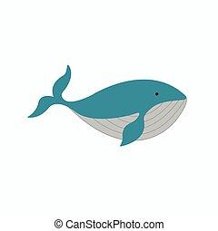 lindo, ballena, caricatura, ilustración
