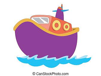 lindo, barco, para, niños, en, vector, ilustración