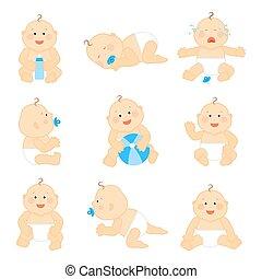 lindo, bebé, en, pañal, vector, ilustración