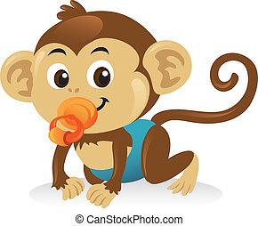 lindo, bebé mono, con, un, chupete, en, un, gatear, pose.