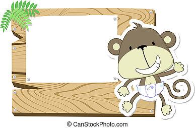lindo, bebé mono, signboard