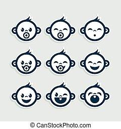 lindo, bebé, niño, iconos