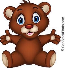 lindo, bebé, oso marrón, caricatura, posar