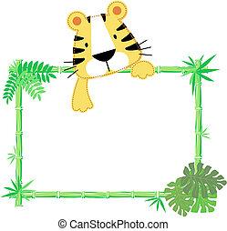 lindo, bebé, tigre, marco