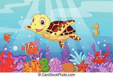 lindo, bebé, tortuga, caricatura, con, colle