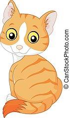 lindo, blanco, aislado, caricatura, gato