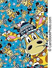 lindo, bobble, patrón, jirafa, sombrero, caricatura