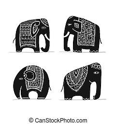 lindo, bosquejo, conjunto, diseño, elefante, su